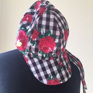 Betsey Johnson Gingham Rose Cap NWOT